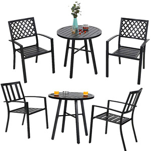Outdoor Table Chair Set of 3 Metal End Table Stackable Chair Patio Furniture Set