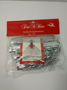 Vintage Tinsel Decoration NOS Silver trim a home A4