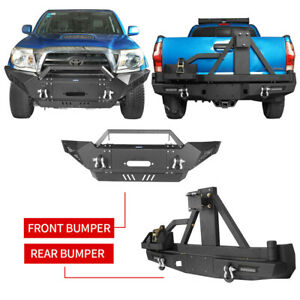 Front Rear Bumpers w Skid Plate Tire Carrier for Toyota Tacoma 05 15 STEEL $1219.99
