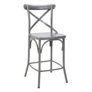 Counter Stool Gray Kichen Dining Furniture Armless Back Support Steel Seating $121.00