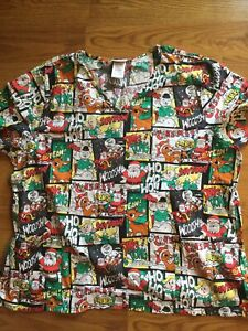 RUDOLPH THE RED NOSED REINDEER NURSES SCRUBS SMOCK SIZES 2XL
