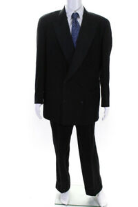 Donna Karan Mens Wool Double Breasted Blazer Jacket Pants Suit Black Size 42R $69.99