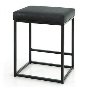 Black Bar Stools with Footrest PU Leather Backless Dining Chair Indoor Furniture