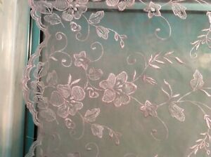 scalloped edge organza tulle flowers floral pink fabric 57quot; w sold by the yard