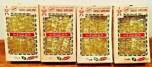 NEW Vintage Tinsel Garland 18#x27; Metallic Gold Wilmsen#x27;s 1960s Lot 4 Boxes
