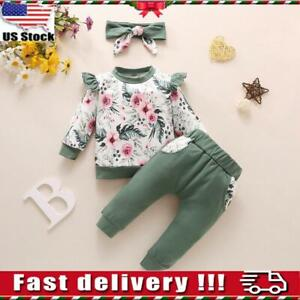3pcs Newborn Baby Girls Kid Romper Floral Tops Pants Headband Clothes Outfit Set $9.99