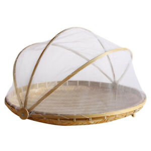 Bamboo Tent Basket Hand Woven Anti Bug Food Fruit Container Net Mesh Cover US