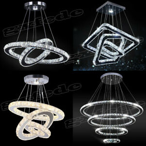 Modern Chandelier LED Crystal Pendant Lamp Round Ceiling Light Hanging Light US $89.99