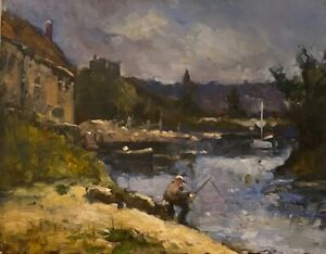 Fishing on the River Bank New Bill McLane Original Oil 11quot;x14.quot; Canvas Board
