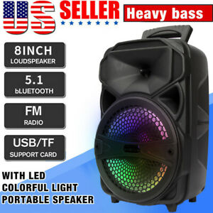 8quot; 1000W Portable FM Bluetooth Speaker Subwoofer Heavy Bass Party System AUX US $38.99
