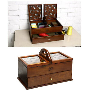 Sewing Basket Wood Cantilever Sew Kit Boxes Storage Organizer Case Table $166.79