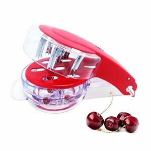 Olive Cherry Pitter 6 Cherries Stoner with Pits and Juice Container