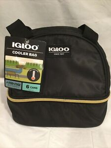 IGLOO Black Zippered Insulated Lunch Box Bag Cooler Bag 6 Can Size
