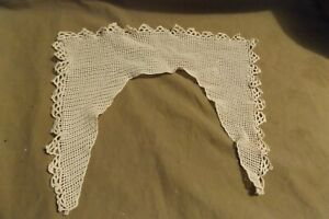 Antique Clothing Textiles Cotton Crocheted Lace Collar 9x11quot; Eggshell White $2.99