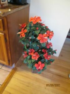 39quot; ARTIFICIAL REALISTIC DOUBLE BALL ORANGE HIBISCUS FLOWER TOPIARY TREE $44.00