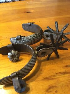 Antique Old Cowboy Vaquero Mexican Chihuahua Spurs Amozoc Silver Large Rowel