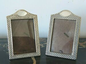 Pair of Vintage Small Sterling Silver 925 Picture Photo Frames w Easel backs