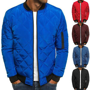 Mens Padded Quilted Bomber Jacket Coat Casual Zip Up Winter Warm Flight Outwear