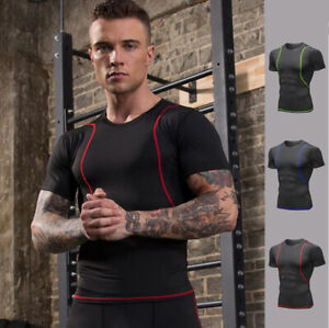 Mens Workout Compression Underwear Base layer Running Tight Cool Dry Shirts Tops $13.97