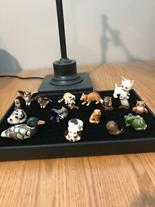 Lot of Vintage Small Mini Animal Figurines Shadow Box Doll House Dog Frog Owls