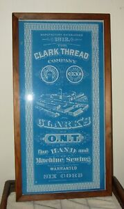 Neat Clark sewing spool thread framed advertising sign 15573 $475.00