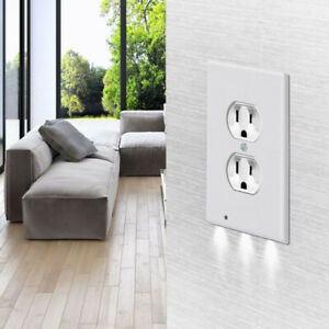 5× Round Duplex Wall Plate Outlet Cover w LED Night Lights Ambient Light Sensor $11.89