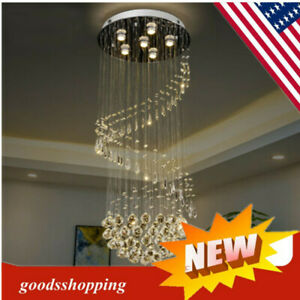 Luxury Crystal Pendant Lamp Ceiling Light Rain Drop Chandelier Spiral Lighting $217.05