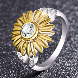 Womens Sunflower Ring Alloy Rhinestone Ring Accessories Valentines Day Gift $7.99