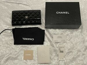 CHANEL wallet patent tri fold quilted box dust bag tags serial n card auth $599.00