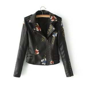 Embroidery PU Leather Jacket Women Motorcycle Jacket Black Coats Outerwear