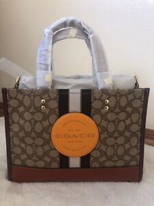NWT COACH DEMPSEY CARRYALL IN SIGNATURE JACQUARD With Stripe amp; Coach Patch 4113