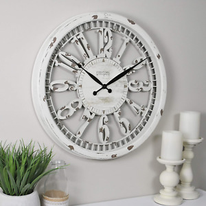 20quot; Wall Clock Antique Round Large Hanging Distressed White Rustic Farmhouse $38.24