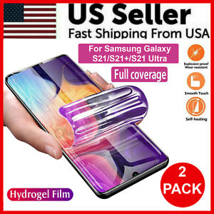 2 Pack HYDROGEL Screen Protector For Samsung Galaxy S21 Ultra S21 Plus TPU New $4.38