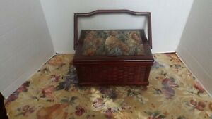 VINTAGE WOODEN SEWING BOX WITH TAPESTRY LID WEAVE BODY AND HANDLE $25.00