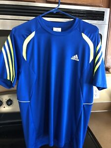 Adidas Mens Climacool Dry Fit Shirt Medium Blue Blue Yellow Neon Athletic Tennis $17.95