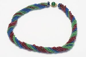 Coco CHANEL Gripoix 1930's Blue Green Red Poured Glass Beads Collar Necklace $15000.00