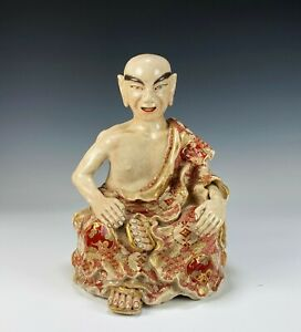 Large Antique Japanese Satsuma Pottery Statue of Seated Figure