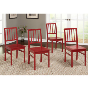 Set of 4 Modern Red Solid Wood Chairs Kitchen Dining Furniture Armless Side Seat $219.11