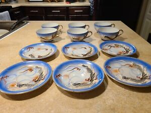 Rare Satsuma Moriage Dragonware 6 Tea Cups W Plates 3D Please Read