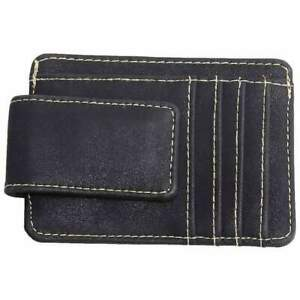 Mad Style Mad Man Leather Money Clip With Card Slots and Bill Holder in Black