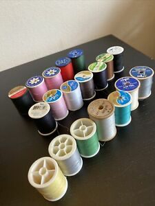 Lot Of 19 Vintage Sewing Spools Thread Mix $7.50