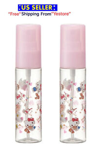Set of 2 Sanrio Hello Kitty Pink Heart Lotion Spray Bottle Japan Drink Compact
