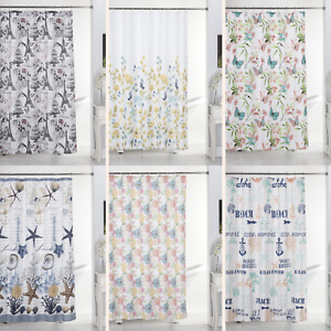13 PC Canvas Shower Curtain Rollers Hook Set Beautiful Floral Nautical Design