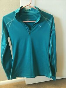 Paradox Womens Base Layer Top Athletic Fitness Long Sleeve Shirt Teal Fleece Sm $18.88