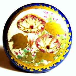 FABULOUS 1 3 16 JAPANESE MEIJI SATSUMA BUTTON w MORNING GLORIES  COBALT RIM