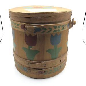 Vintage Sewing Box Basket Pail Picnic Round Wooden With Lid Floral Design $45.00