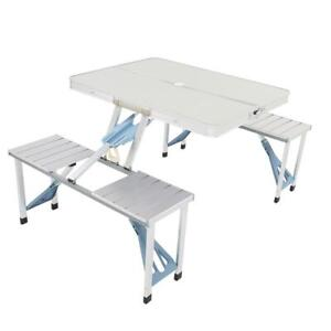 Aluminum Folding Camping Picnic Table With 4 Chair Seats Portable Table Silver $57.99