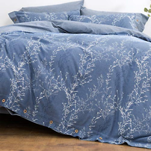 OREISE Duvet Cover Set Full Queen Size Washed Cotton Yarn Jacquard Blue and Set