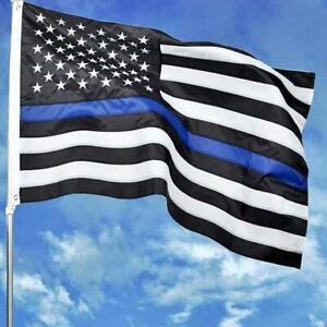 3X5FT THIN BLUE LINE BLACK AND WHITE AMERICAN FLAG POLICE LAW ENFORCEMENT DEFEND