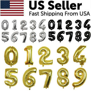 32 Large Number Foil Balloon Digit Balloons Birthday Anniversary Decor Party US
